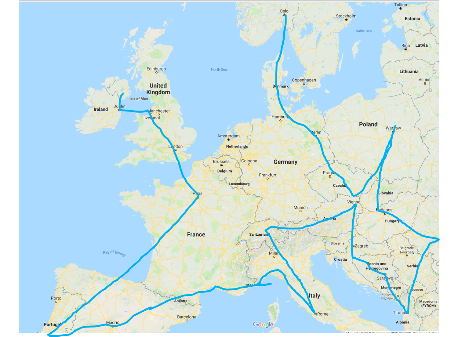 Map illustration of the virtual steps the CavanaghKelly team took through Europe.  Shows key locations with blue line starting in Dungannon and finishing in Norway